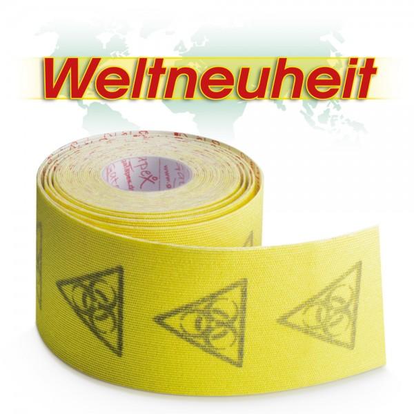 NEUHEIT Gatapex Rayon Kinesiology-Tape 4m x 5cm Farbe: Hot Yellow - Gelb Reflexion / Material-Mix aus Kunstseide und Spandex