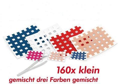 160 kleine Gatapex Gitter-Akupunkturtapes (Farben gemischt) + Pinzette