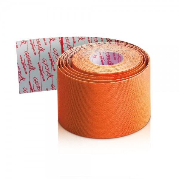 NEUHEIT Gatapex Rayon Kinesiology-Tape 4m x 5cm Farbe: Hot Orange / Material-Mix aus Kunstseide und Spandex