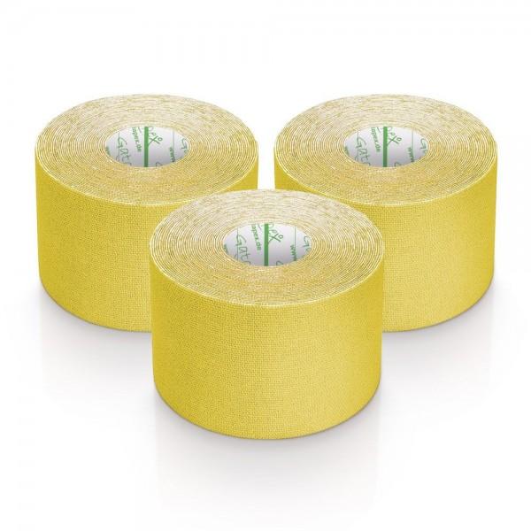 Gatapex 3 Rollen Kinesiologie Tape Gelb 5, 5 m x 5cm / insgesamt 16,5 Meter