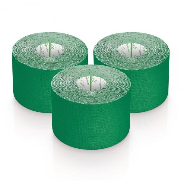 Gatapex 3 Rollen Kinesiologie Tape Grün 5, 5 m x 5cm / insgesamt 16,5 Meter