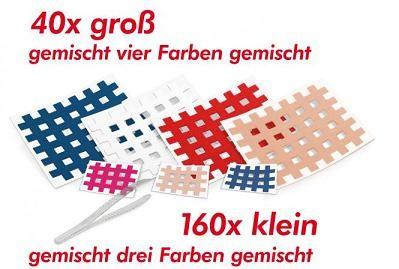 200 Gatapex Gitter-Akupunktur-Tapes (Farben und Größe gemischt) + 1 Pinzette