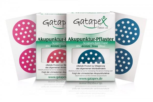 2 Schachteln Akupunkturtape runde Gatapex Akupunkturpflaster 1 x 40 Stück rund blau / 1 x 40 Stück rund pink