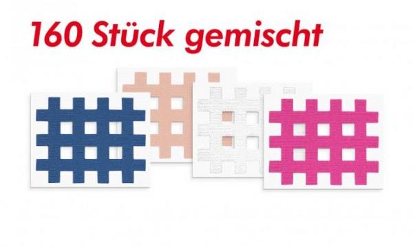Gatapex Akupunkturpflaster farblich gemischt (160 Gittertapes, 2,1 cm x 2,7 cm / je 40 Tapes in beige, pink, blau und weiss)