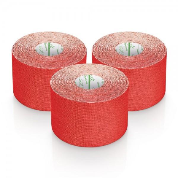 Gatapex 3 Rollen Kinesiologie Tape Rot 5, 5 m x 5cm / insgesamt 16,5 Meter