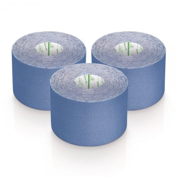 Gatapex 3 Rollen Kinesiologie Tape Blau 5, 5 m x 5cm / insgesamt 16,5 Meter