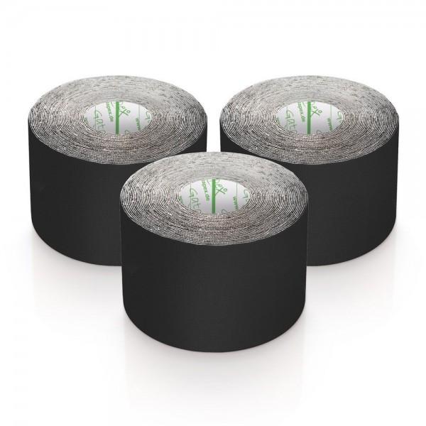 Gatapex 3 Rollen Kinesiologie Tape Schwarz 5, 5 m x 5cm / insgesamt 16,5 Meter