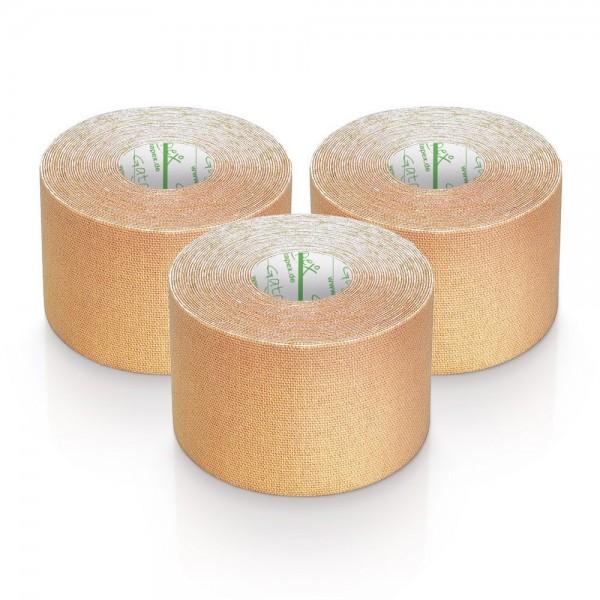 Gatapex 3 Rollen Kinesiologie Tape Haut / Beige 5, 5 m x 5cm / insgesamt 16,5 Meter