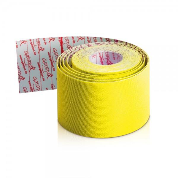 NEUHEIT Gatapex Rayon Kinesiology-Tape 4m x 5cm Farbe: Hot Yellow - Gelb / Material-Mix aus Kunstseide und Spandex