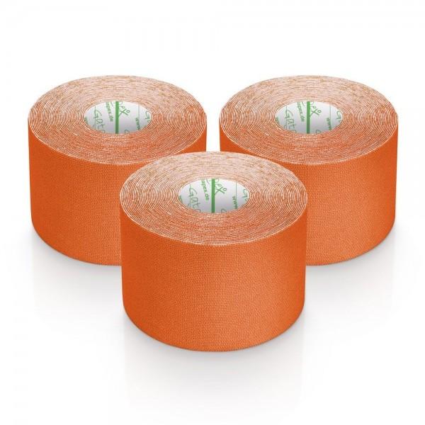 Gatapex 3 Rollen Kinesiologie Tape Orange 5, 5 m x 5cm / insgesamt 16,5 Meter