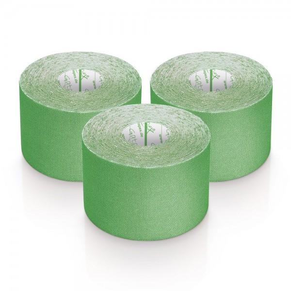Gatapex 3 Rollen Kinesiologie Tape Hellgrün 5, 5 m x 5cm / insgesamt 16,5 Meter