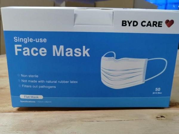 BYD Medizinische Einwegmaske (OP-Maske Typ IIR, 40 x 50er, non-steril verpackt / 2000 St.